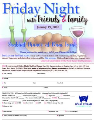 B'nai Torah Congregation Family and Friends Shabbat Dinner